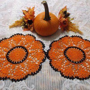 Handmade Crocheted Fall Doily Set - Black/Orange